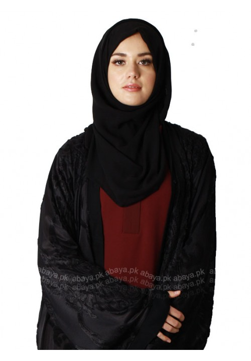 BLACK SELF EMBOSSED ABAYA BS911