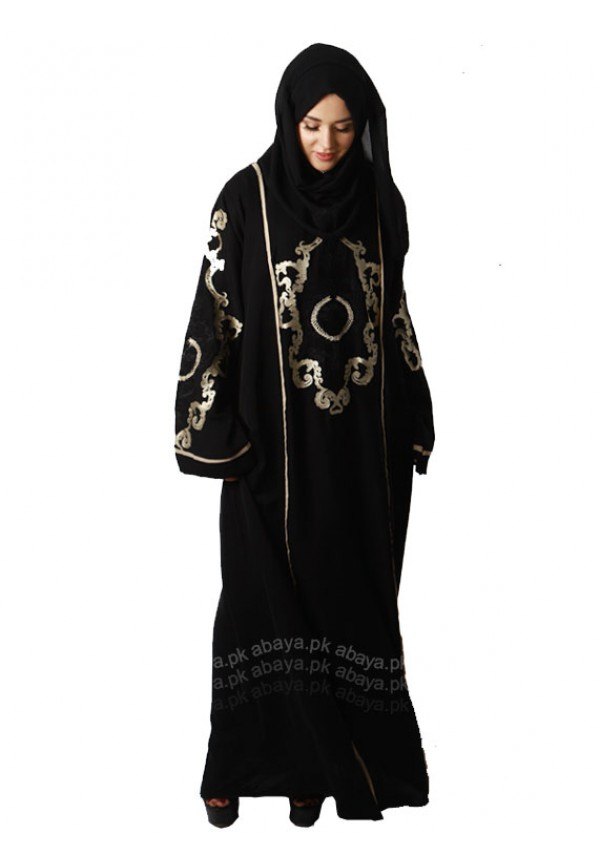 FORMAL BLACK EMBROIDERED ABAYA BE749