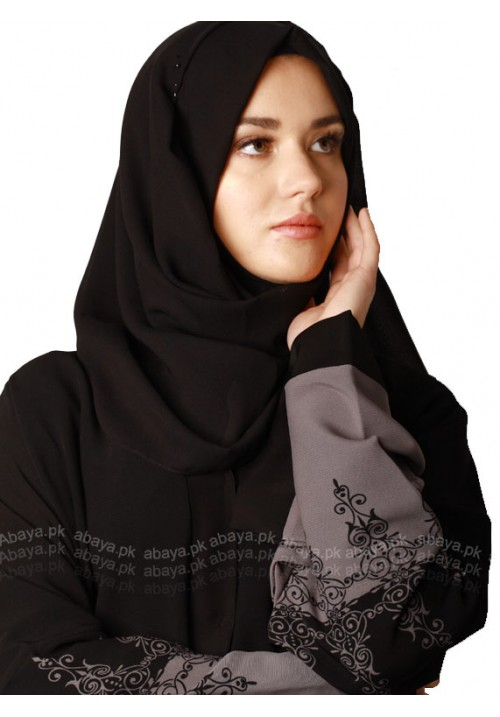 BLACK GREY PRINTED ABAYA BGP76