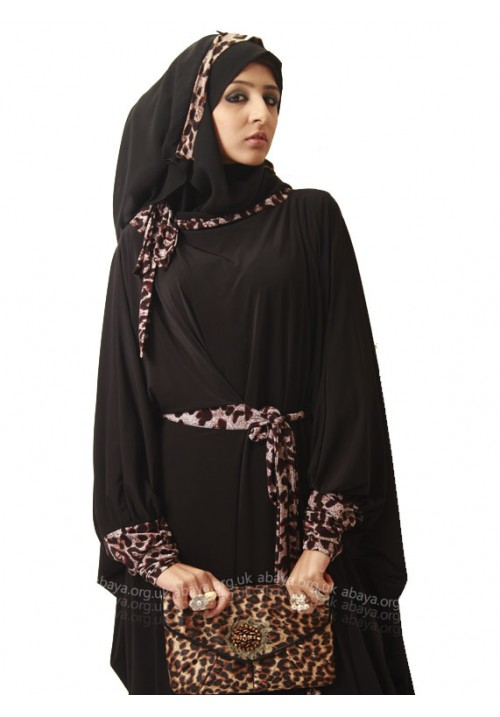 CHEETAH WRAP ABAYA FB128