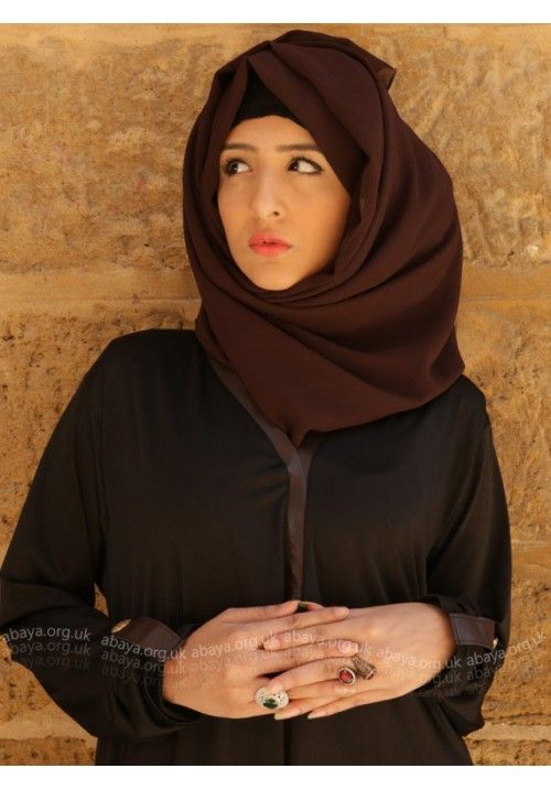 CHESTNUT LEATHER ABAYA ESD1143
