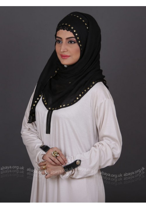 IVORY LEATHER ABAYA IVL696